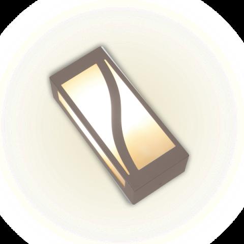 ARANDELA RETANGULAR C/VIDRO BRANCA/MARROM - AE303 - FELLUZ