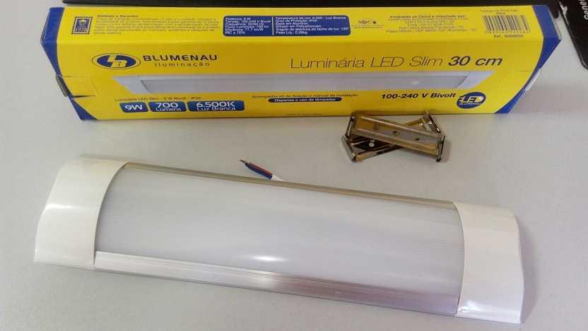 LUMINÁRIA FLAT SLIM LED ALUMINIO + PC 09/18W - BLUMENAU