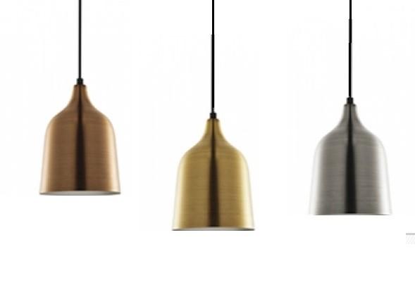 Pendente cônico em metal antique cores latão, prata e cobre - Mart