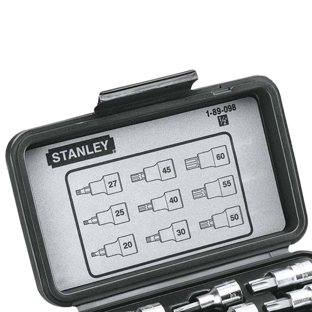 Jogo de Chave de Soquetes Tipo Torx 9 peças de T20 a T60 (Stanley 89-098)