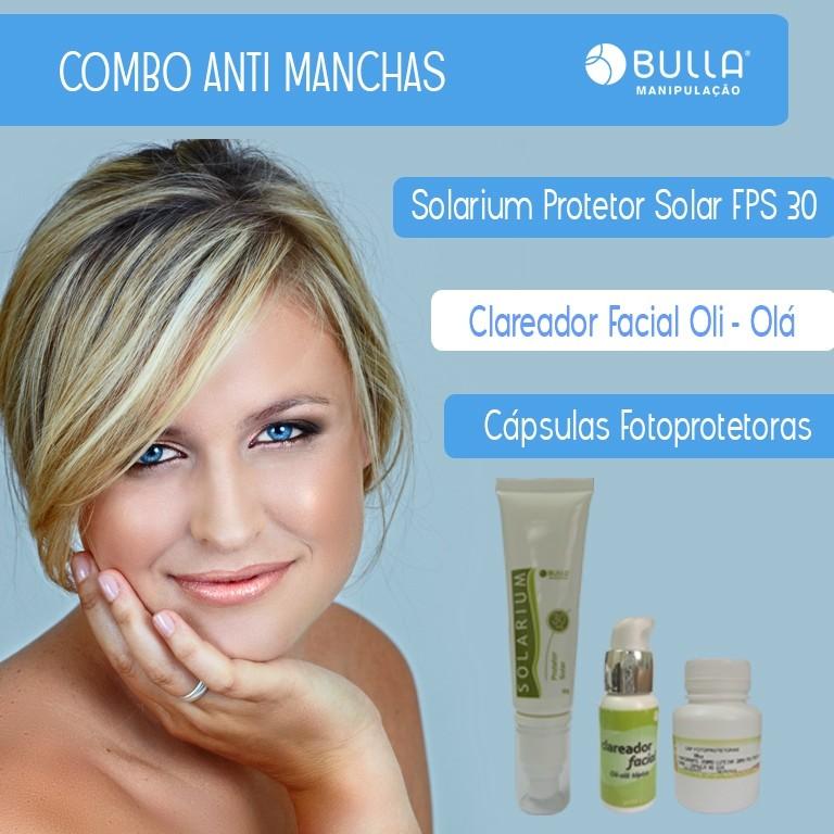 Combo Antimanchas: 60 Cápsulas Fotoprotetoras + Clareador facial - 30 g + Solarium Protetor Solar FPS 30 - 60 g  - Bulla Farmácia de Manipulação