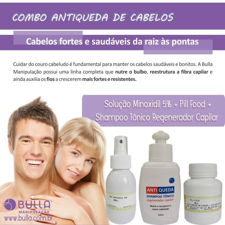 Combo Antiqueda de Cabelos: Solução de Minoxidil 5% - 100 ml + Shampoo Tônico Regenerador Capilar - 120 ml + Pill Food - 60 cápsulas  - Bulla Farmácia de Manipulação