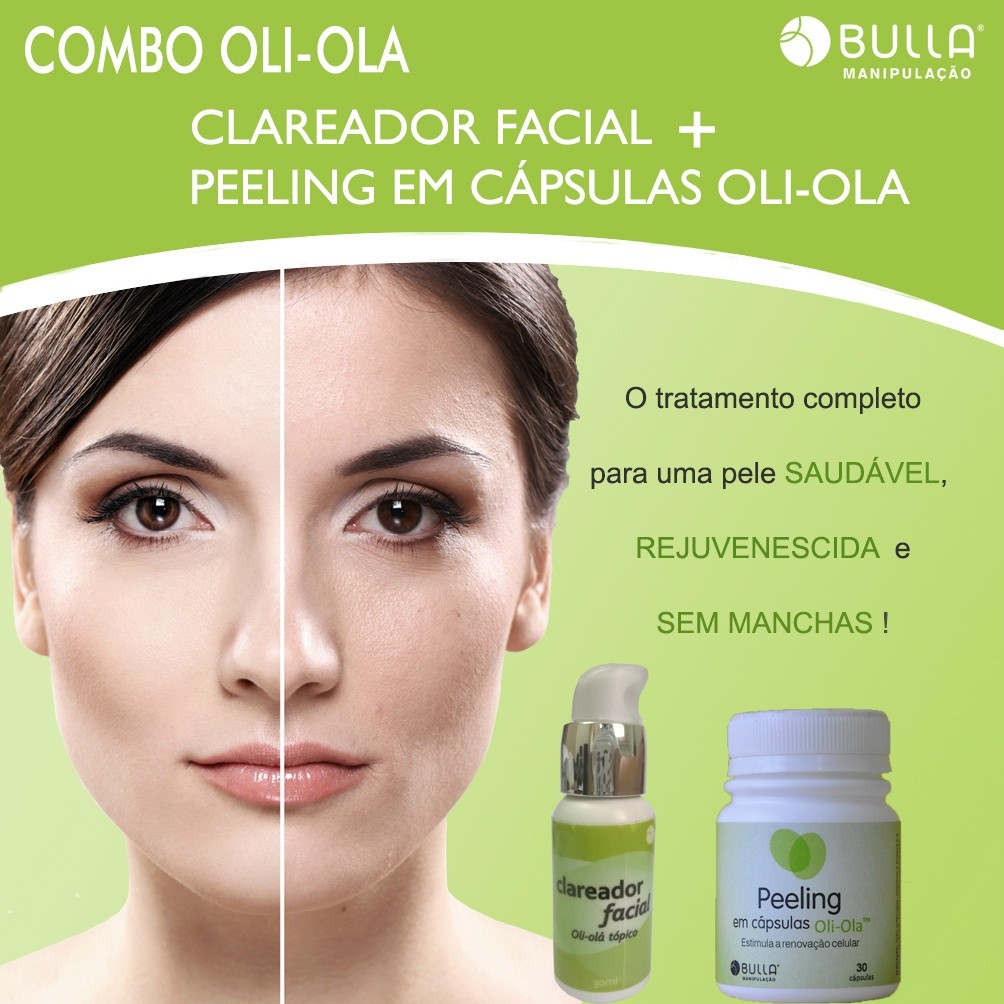 Combo Oli-Olá: Clareador Facial + Peeling em cápsulas  - Bulla Farmácia de Manipulação