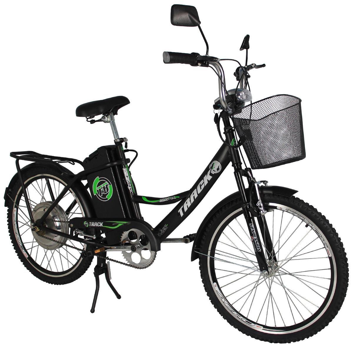 Bicicleta Track & Bikes Aro 24 City Pas Elétrica 350W Preta