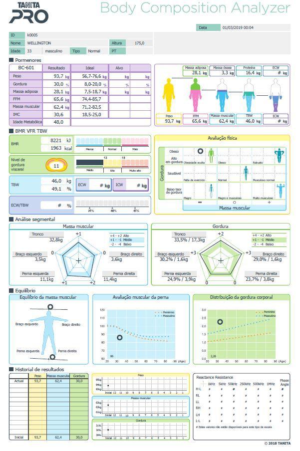 Balança De Bioimpedância Bc 601 FS 2020 Tanita C/ Software Ilimitado 2020 & SD Card Bc601