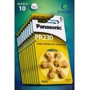Panasonic PR10 / PR230  - 10 Cartelas - 60 Baterias para Aparelho Auditivo