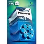 Panasonic PR675 / PR44  - 10 Cartelas - 60 Baterias para Aparelho Auditivo