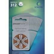 PowerOne P312 / PR41  - 10 Cartelas - 60 Baterias para Aparelho Auditivo