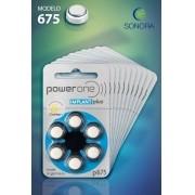 PowerOne P675 (IMPLANT PLUS)  - 10 Cartelas - 60 Baterias para Implante Coclear