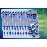 RAYOVAC 675 IMPLANT PRO - 10 cartelas - 60 Baterias Aparelho Auditivo