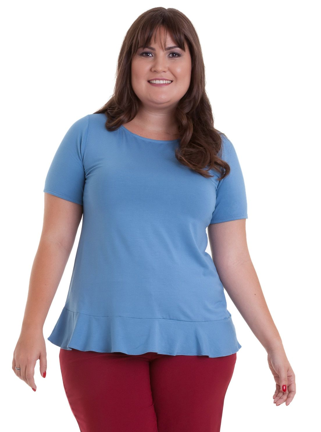 Blusa Cotton Colors babado na barra e costas