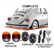 PAR DE LANTERNA FUSCA VW 1500 79/ FAFA COM SOQUETE - AMBAR TRICOLOR