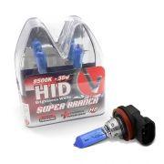 Par Lâmpada Super Brancas H8 12V 55W 8500K Efeito Xênon