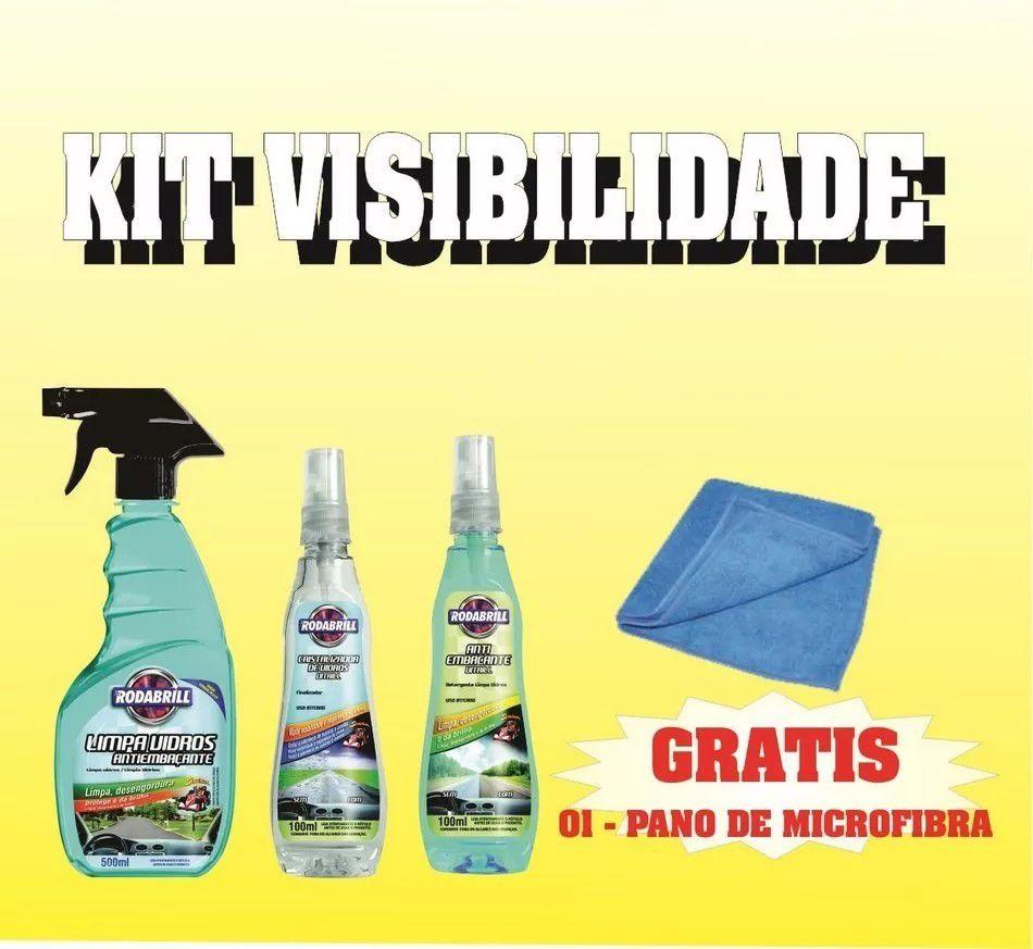 Kit Visibilidade  - ( Limpa Vidros / Anti Embaçante / Cristalizador / Pano )