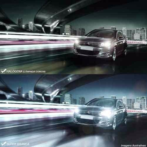 Par Lâmpada Super Brancas H3 12V 55W 8500K Efeito Xênon