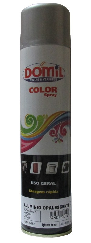 Tinta Spray - Aluminio Opalescente  - Uso Geral (400 ml) Domil