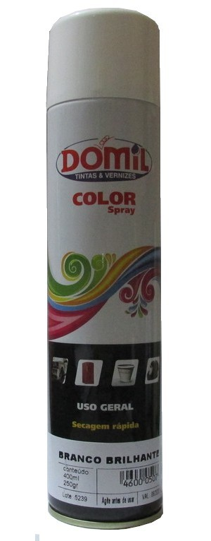 Tinta Spray - Branco Brilhante - Uso Geral (400 ml) Domil