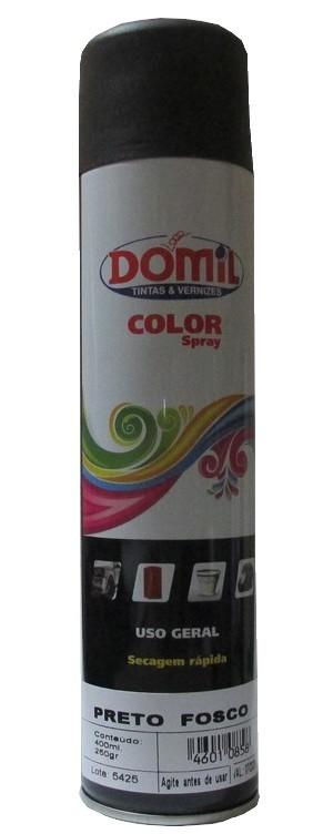 Tinta Spray - Preto Fosco - Uso Geral (400 ml) Domil