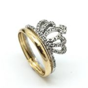 4693840def3 Anel Coroa Brilhantes De Zircônia Feminino Ouro 18k 21637