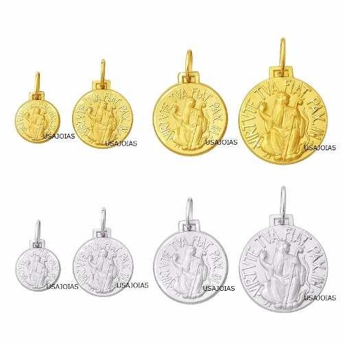 6c50de2c2a87e Medalha São Bento Dupla Face Original 18mm Ouro Branco 18k Religioso - Pingentes e Medalhas Pingentes e Medalhas