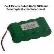 Pack Bateira 4,8v Sub-c 1800mah Ni-cd Com Fio Terminal