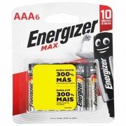Pilha Alcalina Energizer Max AAA Palito Cartela C/6 Unidades