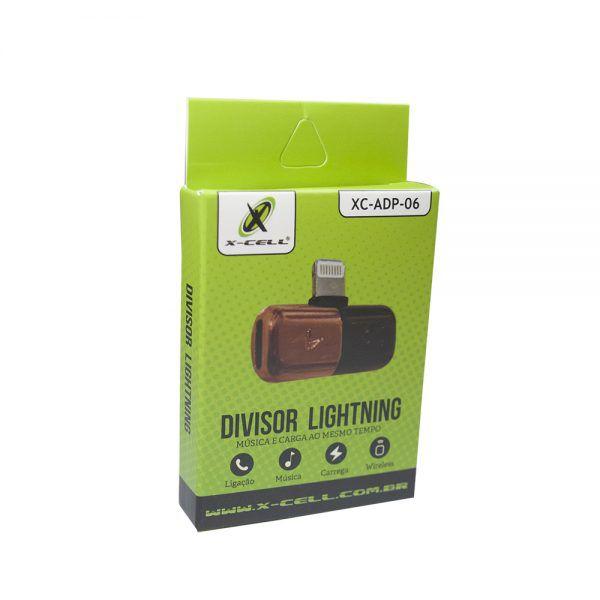 ADAPTADOR DIVISOR LIGHTNING 8P P/ FONE DE OUVIDO E CARREGADOR