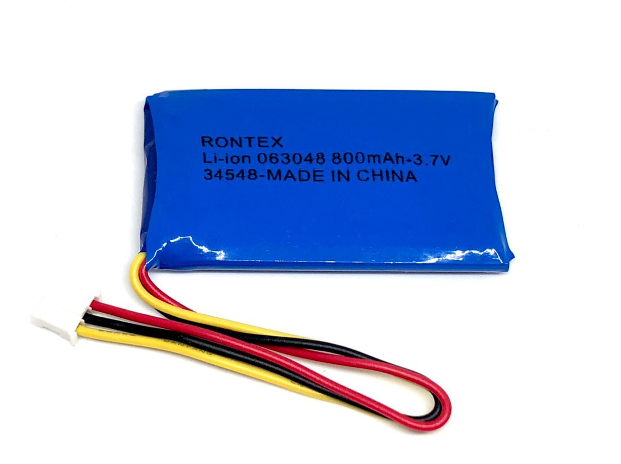 BATERIA 3,7V 800MAH LI-PO RECARREGAVEL (6x30x52mm) CONECTOR JST PHR3 COM PCM