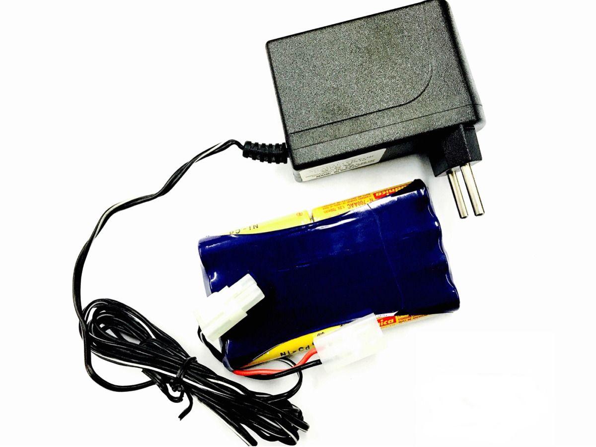 Bateria 9,6v 700mah Aa Nicd Com Carregador 9,6v