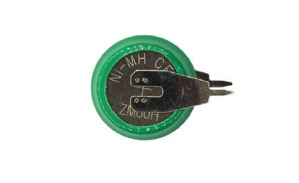 Bateria Botão 1,2v 80mah Ni-mh Com 2 Terminais Recarregável