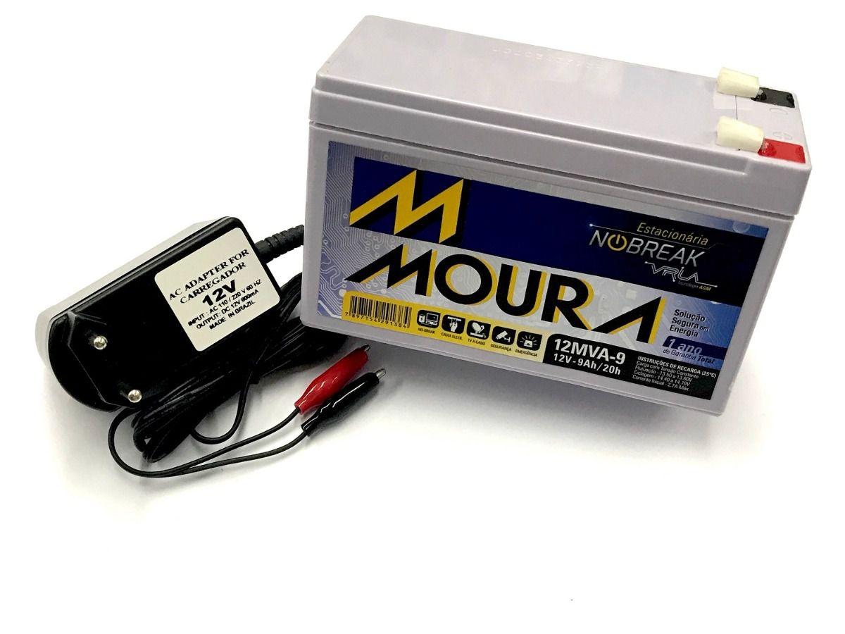 Bateria Moura 12v 9ah + Carregador 12v 800mah