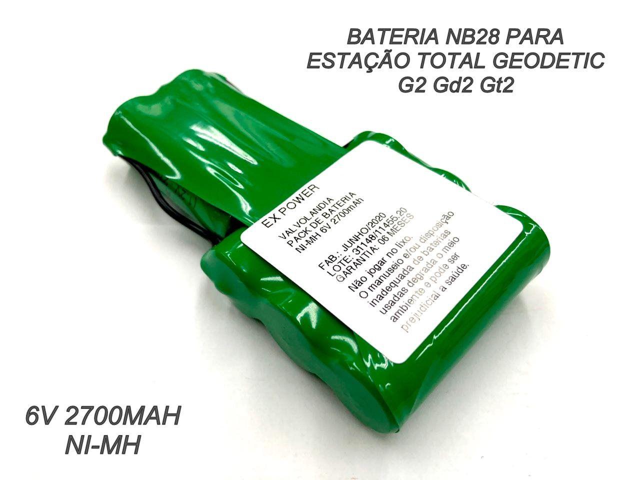 Bateria Nb-28 Para Estação Total 6v 2800mah Ni-mh G2 Gd2 Gt2