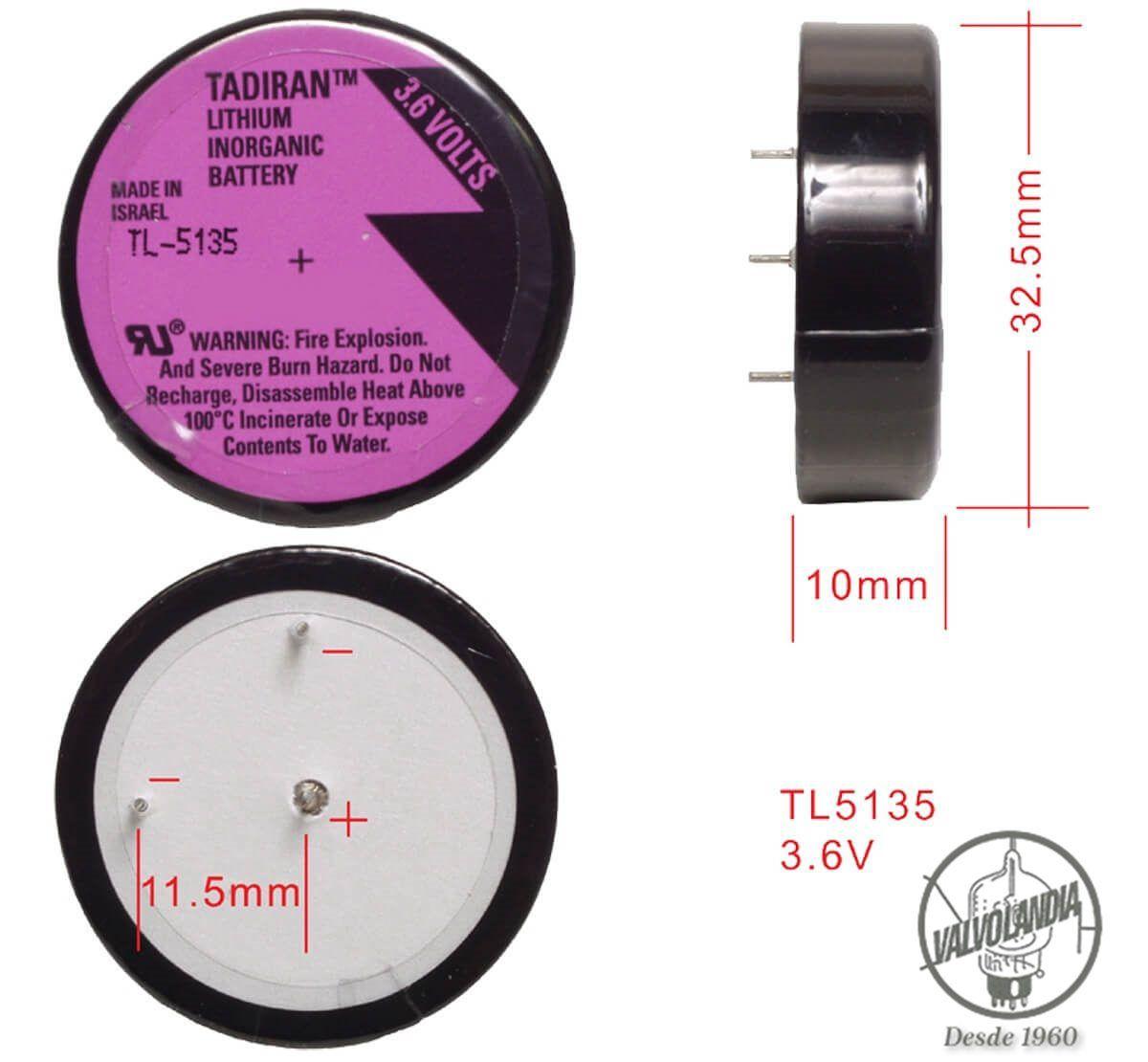 BATERIA TADIRAN TL-5135 3,6V LITHIUM