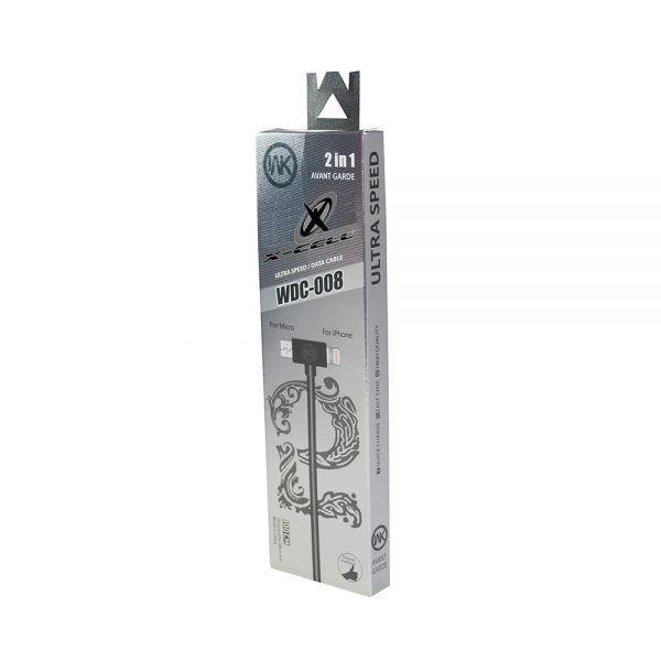 CABO DE DADOS USB 2X1 -  MICRO USB / LIGHTNING 8P
