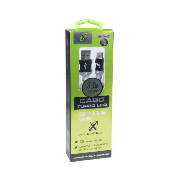 CABO DE DADOS USB / LIGHT 8P 3.0A 2 METROS -  LED