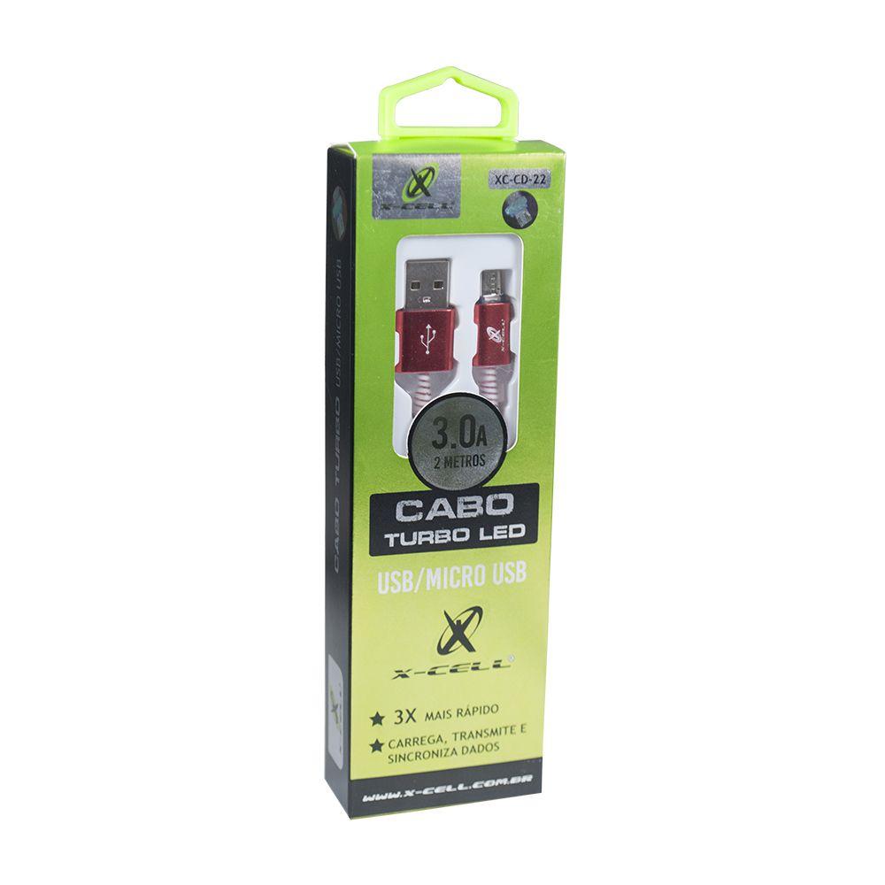 CABO DE DADOS USB / MICRO USB V8 3.0A 2 METROS - LED