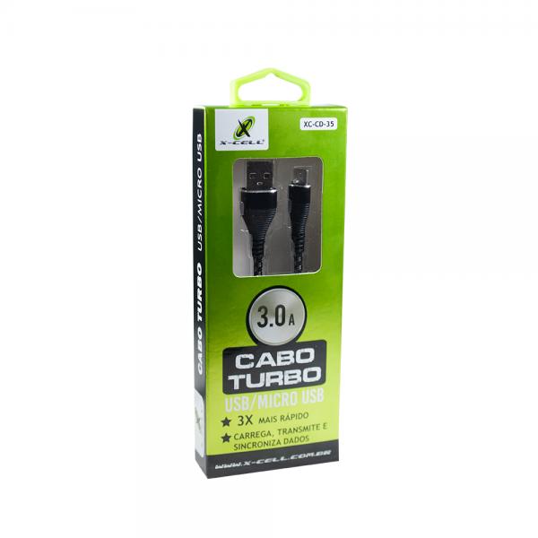 CABO DE DADOS USB MICRO USB V8 TURBO 3.0A 1 METRO NYLON