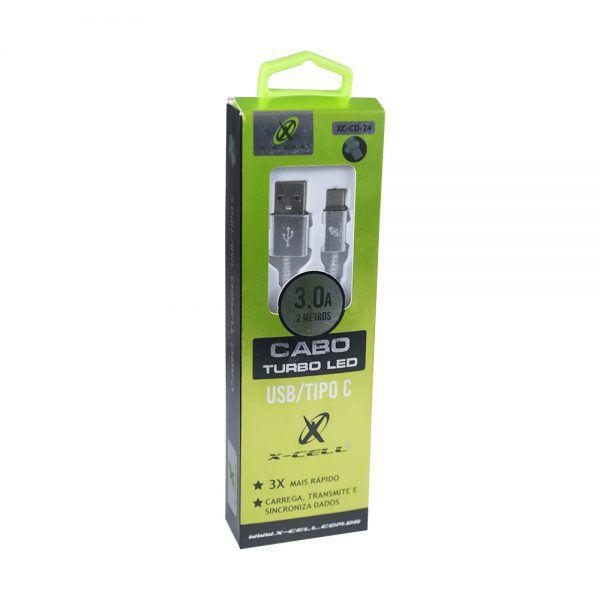 CABO DE DADOS USB / TYPE C 3.0A 2 METROS - LED