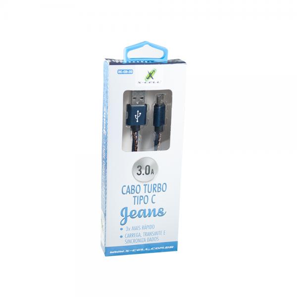 CABO DE DADOS USB TYPE C TURBO 3.0A 1 METRO  JEANS