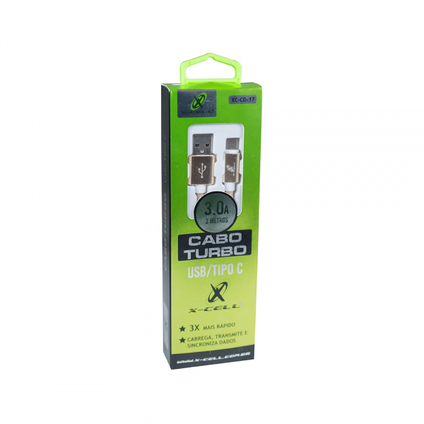 CABO DE DADOS USB /TYPE C - TURBO 3.0A - 2 METROS - NYLON