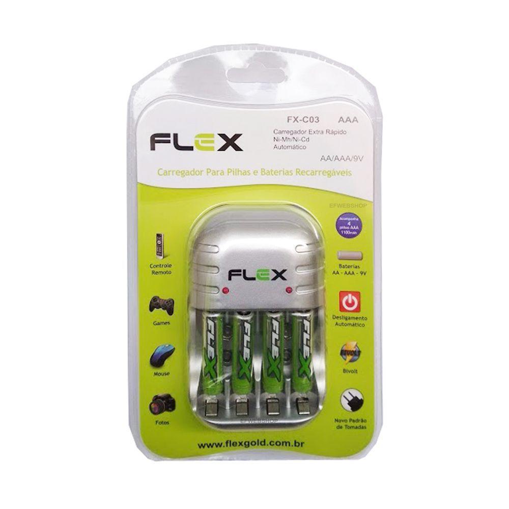 Carregador de Pilhas Flex com 4 pilhas AAA 1100 mAh Recarregável