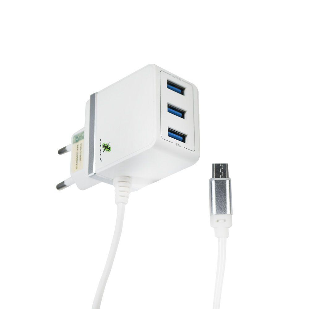CARREGADOR TURBO V8/MICRO USB 5.1A C/ 3 ENTRADAS USB