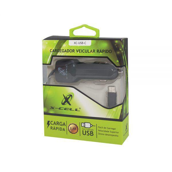 CARREGADOR VEICULAR TIPO C + 1 PORTA USB 2.5A