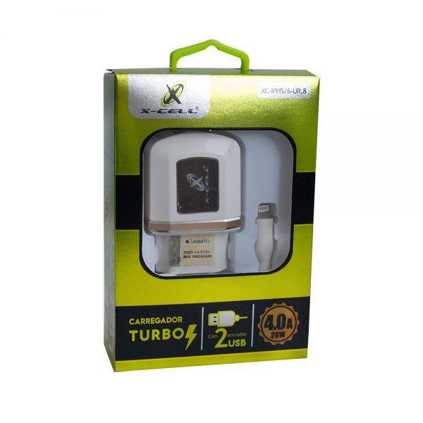 KIT 2X1 TURBO/ CABO LIGHTNING 8P 1,5M + CARREGADOR 4.0A 2 USB