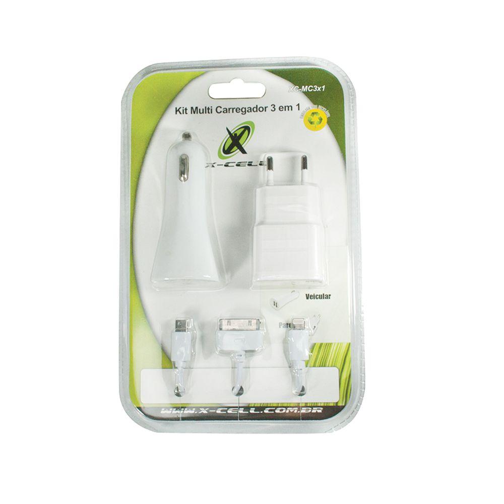 KIT 3X1 - CABO C/3 CONECTORES + CARREGADOR DE TOMADA + CARREGADOR VEICULAR C/ 2 ENTRADAS USB