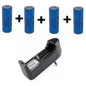 Kit 4 Bateria 18490 / 18500 3,7v 1400mah + Carregador