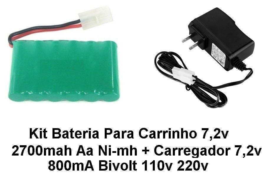 Kit Bateria Carrinho 7,2v Aa 2700mah + Carregador 7,2v 800ma