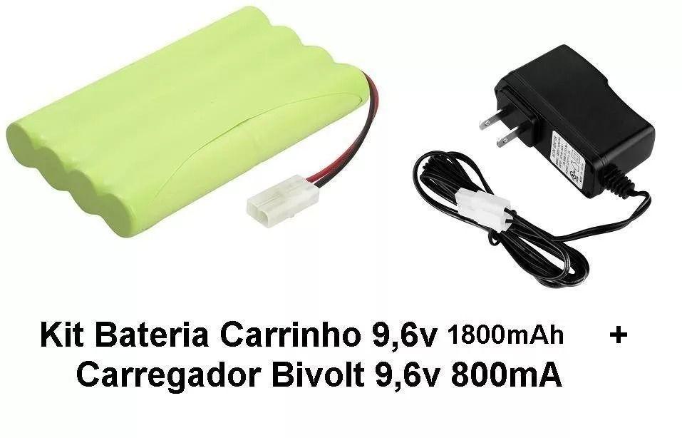 Kit Bateria Carrinho 9,6v 1800mah + Carregador 9,6v 800ma