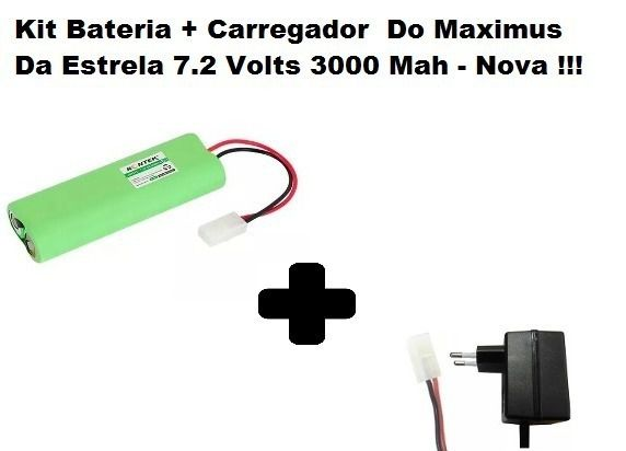 Kit Bateria E Carre.do Maximus Da Estrela 7.2 Volts 3000 Mah