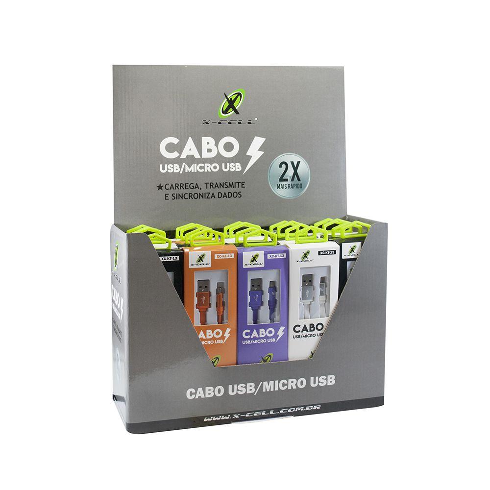 KIT COM 20 CABOS DE DADOS USB TIPO LAT MOD. MICRO USB / V8 1,2M